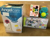 Baby stuff - Nappy bin, seat and baby toys