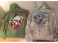 8 Large, brand new authentic Ed Hardy men's designer hoodies. Various designs, as pictured