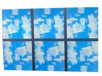 6x 48W Sky Cloud Pattern LED Flat Slim Panel Light Ceiling Lamp 600x600 mm