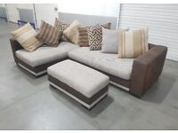 DFS - Grey/Brown Fabric L-Shape Corner Sofa with Pouff/foot stool