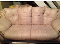 Pale pink leather sofa and 2 armchairs £50