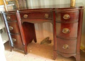 Oakville ANTIQUE DESK Sheraton 100+ years old Original finish Rosewood Solid Wood Gorgeous Vintage Office Retro Heavy