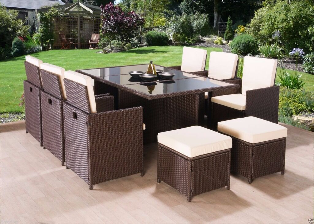 Modern outdoor rattan garden furniture 9 11 pcs cube for Patio dining sets with bench seating