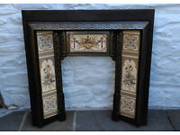 Cast Iron Fire Surround with Decorative Gas Fire For Sale