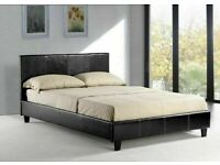 LIMITED TIME OFFER- DOUBLE LEATHER BED IN BLACK/BROWN COLORS