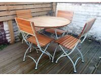 Teak and metal garden furniture set (can be folded for easy storage) + plastic cover