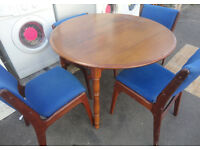 USED STURDY CONDITION, A NICE WOODEN DROP LEAF TABLE & 4 DINING CHAIRS