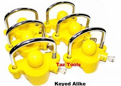 "6pc Hitch Lock Universal Coupler Trailer Lock fits 1-7/8"" 2"" 2-5/16"" Keyed Alike"