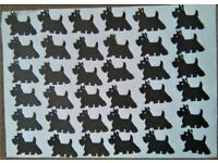 36 x BLACK or WHITE SCOTTIE DOG DIE CUT SHAPES, ideal for card making