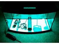 AQUAEL BOW FRONT 90L FISH TANK + FLUVAL FILTER + NEW FILTER MEDIA + HEATER + FISH NET IN BOSCOMBE