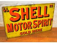 Shell Motor Spirit 1930 enamel sign garage petrol vintage retro antique industrial decor pub mancave