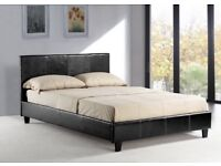 """FAUX LEATHER 3FT SINGLE 4FT 6"""" DOUBLE 5FT KING SIZE WHITE BED FRAME AND MATTRESS"""