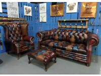NEW Chesterfield Harlequin Suite 3 Seater Sofa, Wing Back Chair & Footstool Leather UK Delivery