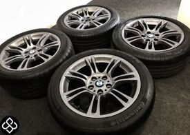 """GENUINE BMW M SPORT 18"""" ALLOY WHEELS WITH GREAT TYRES - GRAPHITE GREY - 5 x 120"""
