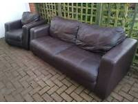 Leather suite. Sofa + armchair. Delivery is possible