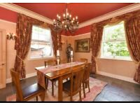 Excellent quality interlined curtains with swags and tails, both sets