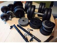 HUGE LOT MIXED WEIGHT DUMBBELLS - 7 DUMBELLS + 56.5KG (34) WEIGHTS