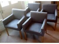 4 x GRAPHITE GREY CARVER DINING/ARM CHAIRS BY MADE COM