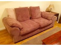 Free Large 3 Seater Sofa, Chocolate & Cream, Large Scatter Cushions, Excellent Condition