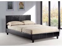 DOUBLE LEATHER BED WITH ORTHOPEDIC MATTRESS JUST £139 CALL NOW FOR FREE DELIVERY
