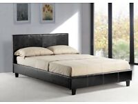 *-*SUPER CLASSIC SALE* BRAND NEW DOUBLE/KING LEATHER BED WITH 10 INCH DUAL SIDED ORTHOPEDIC MATTRESS