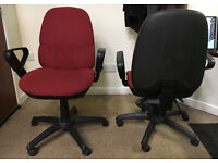 Matching Pair Adjustable Red Office Chairs, Good Working Condition