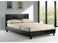 BEST SELLING BRAND DOUBLE LEATHER BED IN BLACK/BROWN COLORS POPULAR CHOICE