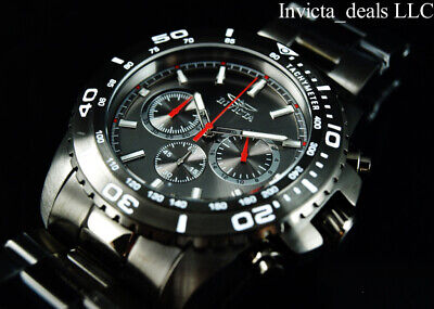 Invicta Men 47mm Pro Diver Chronograph Gunmetal & Red Tone Stainless Steel Watch
