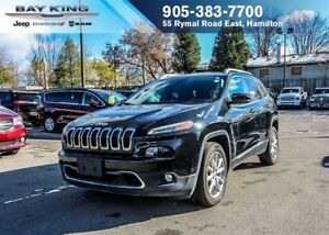 2017 Jeep Cherokee LIMITED FWD, HTD LEATHER, GPS NAVI, BACKUP CA