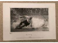 Sir Tom Finney hand signed iconic water splash photo limited edition Coa