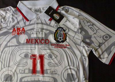 47fcc75f3 New ABA SPORT Mexico Away Jersey  11 BLANCO Large RETRO France 1998 club  america segunda