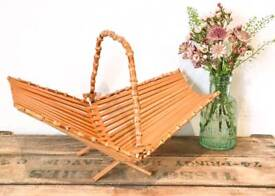 Retro vintage 70s Bamboo fold away fruit basket