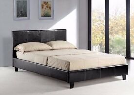 MODERN DESIGNER! ITALIAN FAUX LEATHER DOUBLE SIZE BED WITH 1000 POCKET SPRUNG MATTRESS-