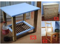 Cheap wooden furniture: chest of drawers from Ikea, chair and blue coffee table. Collection only.