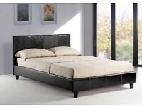 BRAND NEW SINGLE / DOUBLE / KINGSIZE FAUX LEATHER BED FRAME WITH CHOICE OF ORTHOPEDIC MATTRESSES