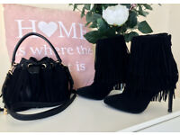 ZARA. Suede tassled ankle boots with matching bag.