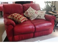 Leather sofa, 2 seater recliner.