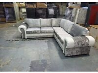BRAND NEW TANGO CRUSHED VELVET/LEATHER CORNER SOFA AVAILABLE IN 3+2 SOFA SET AS WELL