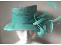 Ladies Wedding Hat Races Mother Bride Ascot Turquoise feathers NEW