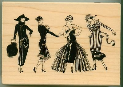 Wood Stamp Fashion - HAMPTON ART rubber stamp FASHIONISTA LADIES wood mounted, Fashion People, PS0330