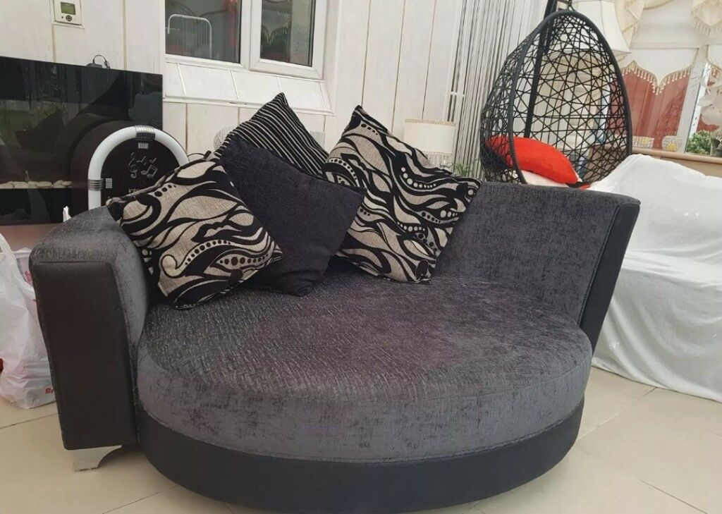 Black/ grey sofa and chair