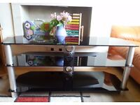 Black TV Stand Tempered glass