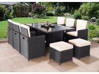 RATTAN CUBE GARDEN FURNITURE SET 10 SEATS CHAIRS SOFA TABLE OUTDOOR PATIO WICKER