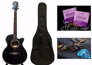 Acoustic Electric Guitar for beginners Black 40 inch iMusic226 Free Soft bag, extra string set and 5 picks