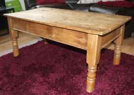 ANTIQUE PINE LARGE COFFEE TABLE