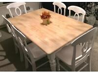 Stunning shabby chic barley twist dining table and 6 chairs