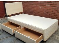 single bed base with 2 storage drawers + headboard. Slumberland. In used but good condition