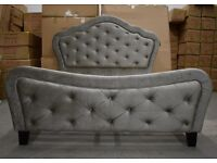 Brand New England Style Chesterfield Luxury Velvet Fabric double size bed frame