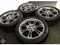 "GENUINE BMW M SPORT 18"" ALLOY WHEELS WITH GREAT TYRES - GRAPHITE GREY - 5 x 120"