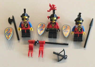 Lego Minifigure Castle Knights Lot M - Vintage Dragon Knights Red Plume, Weapons